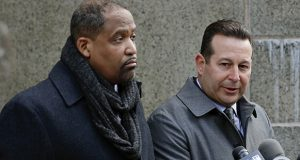 Attorneys Ronald Sullivan, left, and Jose Baez, speak during a news conference outside New York Supreme Court on Jan. 25 in New York. Sullivan and Baez represent Harvey Weinstein in the sexual assault case against him. (AP file photo)