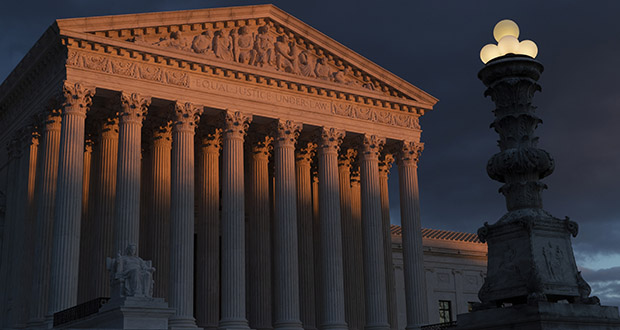 The Supreme Court building is seen at sunset Jan. 24 in Washington. (AP file photo)