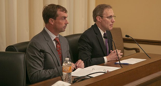 Noah Praetz (left), the former Cook County, Illinois, director of elections, and Minnesota Secretary of State Steve Simon testified Tuesday before House conferees about Simon's need to access $6.6 million in available federal cybersecurity funds. Senate members skipped the meeting. (Staff photo: Kevin Featherly)