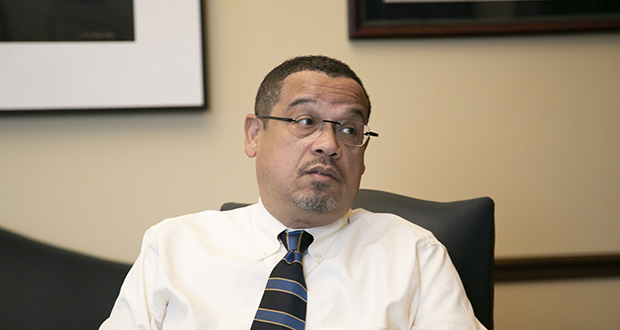 Attorney Keith Ellison in his Minnesota Capitol office on April 18. The previous day, he observed his 100th day on the job. (Staff photo: Kevin Featherly)