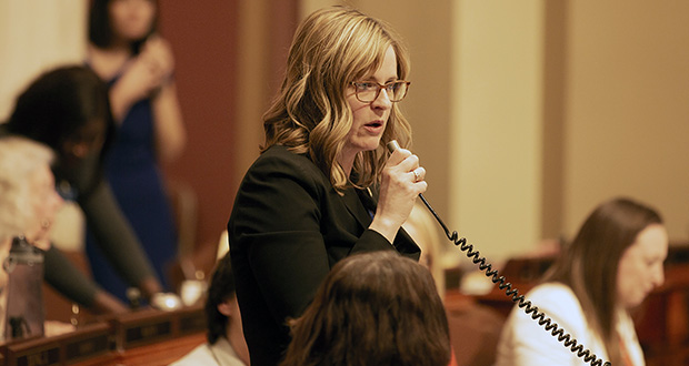"Rep. Kelly Moller is the author of House File 10, which is sexual harassment legislation that would do away with the ""severe or pervasive"" courtroom standard. (File photo)"