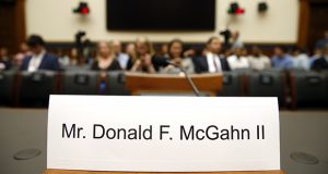 A name placard is displayed for former White House Counsel Don McGahn, who did not appear before the House Judiciary Committee on Tuesday. (AP photo)