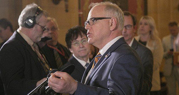 Gov. Tim Walz speaks to the press after meeting with legislative leaders on May 7. Walz said little had changed over the course negotiations last week with Senate Majority Leader Paul Gazelka, House Speaker Melissa Hortman and others, and that talks would break off until Sunday, May 12. (Staff photo: Kevin Featherly)