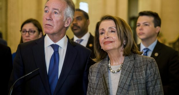 House Ways and Means Committee Chairman Richard Neal fields questions with House Speaker Nancy Pelosi on April 19 during a visit to Northern Ireland. Neal's demand for President Donald Trump's tax returns has led to a standoff with the administration. (AP photo)