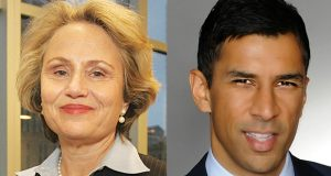 Judge Susan Nelson and attorney Ashwin Madia