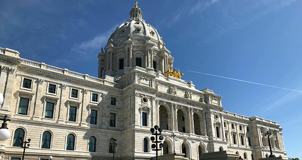 The sun shines on the Minnesota State Capitol in St. Paul.  (AP file photo)