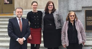 The Dorsey trial team on the courthouse steps in Indiana at the end of Bruce Webster's trial in April, 2019. From left are attorneys Steven Wells, Kirsten Schubert, Kate Johnson and paralegal, Kim Langlais. (Submitted photo)