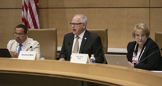 Gov. Tim Walz (center) addresses an applicant Tuesday during his first hearing as chair of the state Board of Pardons. Attorney General Keith Ellison, left, also was making his first appearance with the board. State Supreme Court Chief Justice Lorie Gildea, right, is the board's veteran member. (Staff photo: Kevin Featherly)