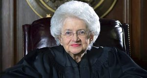 U.S. District Judge Ellen Bree Burns posed for a portrait in her courtroom in the federal courthouse in New Haven, Connecticut, in 2015. (Hearst Connecticut Media via AP)