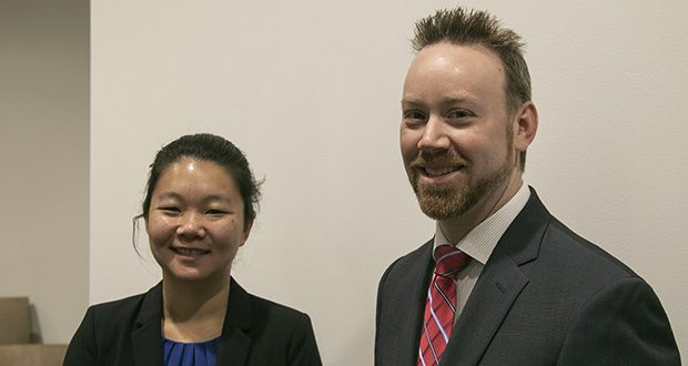 Julia Decker, left, is ACLU Minnesota's new legislative policy director. She replaces Ben Feist, right, who has been promoted to chief programs officer for the organization. (Staff photo: Kevin Featherly)