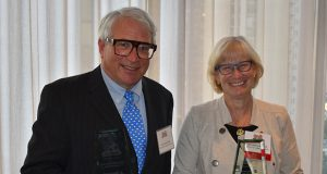 First Judicial District Judge Jerome B. Abrams, left, and First Judicial District Chief Judge Kathryn Davis Messerich were honored at ABOTA's Annual Meeting on July 11. (Submitted photo)