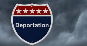 Deportation this way sign