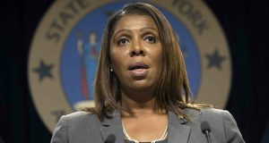 New York Attorney General Letitia James speaks during a news conference in New York. New York state, New York City, Connecticut and Vermont have filed a new legal challenge to new Trump administration rules blocking green cards for many immigrants who use public assistance. (AP file photo)