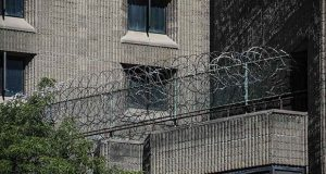 This photo shows razor wire fencing at the Metropolitan Correctional Center in New York, where financier Jeffrey Epstein died while awaiting trial on sex-trafficking charges. (AP photo)