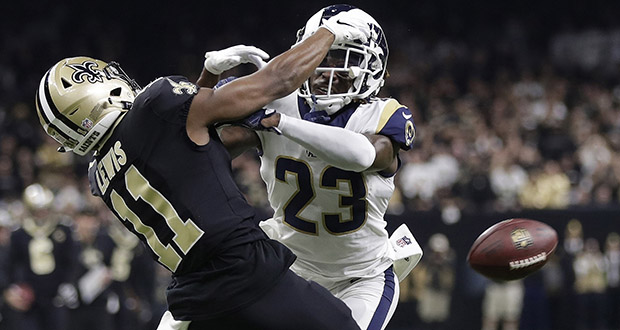 Los Angeles Ram Nickell Robey-Coleman breaks up a pass intended for New Orleans Saint Tommylee Lewis during the second half of the NFL football NFC championship game on Jan. 20, 2019, in New Orleans. (AP file photo)