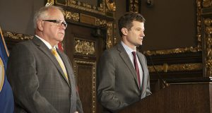 """The Walz administration's posture is for more transparency, not less, DEED Commissioner Steve Grove, right, said at a news briefing with Gov. Tim Walz on Sept. 13. """"Certainly, at DEED we are striving for that as we strengthen our relationship with the public,"""" he said. (Staff photo: Kevin Featherly)"""