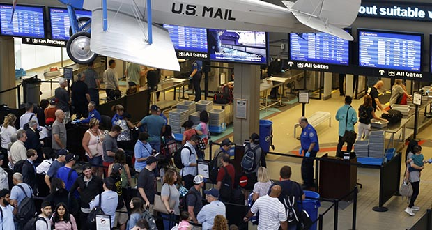 This June 9 photo shows the TSA security checkpoint in Pittsburgh International's Landside terminal in Imperial, Pennsylvania. (AP file photo)