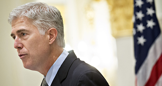 Justice Neil Gorsuch's nomination occurred because Senate Republicans held the seat open for more than a year after the February 2016 death of conservative Justice Antonin Scalia. (Bloomberg photo: Andrew Harrer)