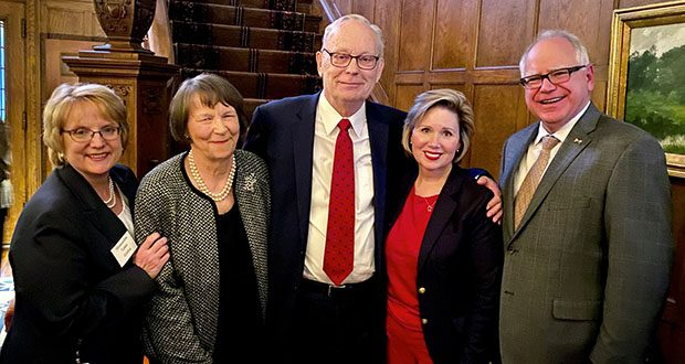 Former state Supreme Court Chief Justice Russell A. Anderson is joined by, from left, Chief Justice Lorie Gildea; Anderson's wife, Kristin; Gov. Tim Walz's wife, Gwen; and the governor. (Submitted photo)