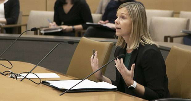 Stacie Christensen, director of the state's Data Practices Office, testifies before the Subcommittee on Data Practices on Oct. 10. (Photo: Kevin Featherly)