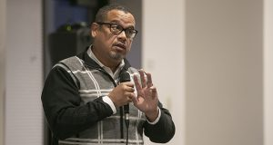Minnesota Attorney General Keith Ellison speaks at a hate-crime listening session tour Oct. 16 at Temple Israel in Minneapolis. (Staff photo: Kevin Featherly)