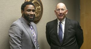 Curtis Shanklin, left, the Department of Corrections' new deputy commissioner of Community Services, stands with Commissioner Paul Schnell, after an Oct. 11 interview at DOC headquarters. (Staff photo: Kevin Featherly)