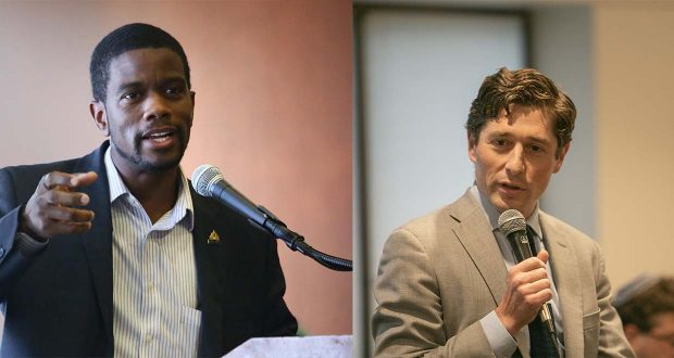 St. Paul Mayor Melvin Carter, left, and Minneapolis Mayor Jacob Frey have received threats steeped in racial or religious animosity. (File photo: Bill Klotz, staff photo: Kevin Featherly)