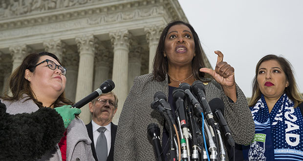 New York Attorney General Letitia James speaks Tuesday after the U.S. Supreme Court heard oral arguments in the case of President Trump's decision to end the Obama-era Deferred Action for Childhood Arrivals program (DACA). (AP photo)