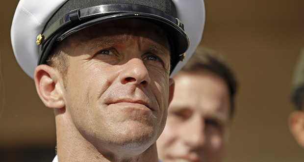Chief Petty Officer Edward Gallagher leaves a military court July 2 on Naval Base San Diego. (AP file photo)