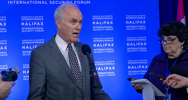 The dispute over the case of Chief Petty Officer Edward Gallagher peaked over the weekend with the firing of Navy Secretary Richard V. Spencer. In this photo, Spencer fields questions Saturday at a media availability at the Halifax International Security Forum in Halifax, Nova Scotia. (AP photo)