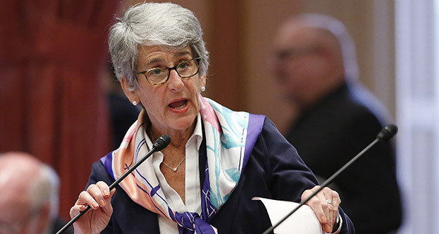 In this May 16 file photo, state Sen. Hannah-Beth Jackson, D-Santa Barbara, addresses the California Senate in Sacramento. California's first-in-the-nation law requiring publicly held companies to put women on their boards of directors faces its second legal challenge. Jackson said her bill is already having a positive effect but respects the right of anyone to file a challenge. (AP file photo)