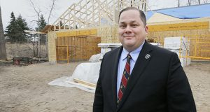 Former Ramsey County Commissioner Blake Huffman, seen here at a Journey Home Minnesota build site in 2017, is accused in a new lawsuit from the state of using Journey Home to make deals with family members and other misconduct at the charity he founded. (File photo: Bill Klotz)