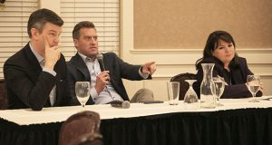 An emphatic House Minority Leader Kurt Daudt, R-Crown, center, makes a point during a Minnesota Government Relations Council legislative panel Monday. House Majority Leader Ryan Winkler, DFL-Golden Valley, and Senate Assistant Minority Leader Susan Kent, DFL-Woodbury, listen in. Senate Majority Leader Paul Gazelka was an unexplained no-show. (Staff photo: Kevin Featherly)