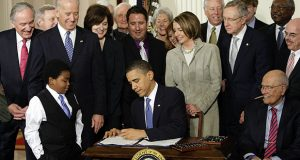 President Barack Obama signed the Affordable Care Act on March 23, 2010. (AP file photo)