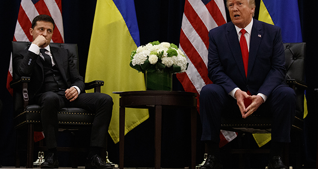 President Donald Trump meets with Ukrainian President Volodymyr Zelenskiy on Sept. 25 in New York amid controversy over a phone call allegedly demanding dirt on Joe Biden. See Question 16. (AP photo: Evan Vucci)