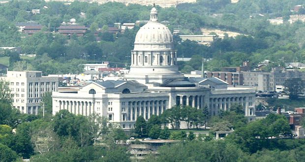"""In April, the 8th U.S. Circuit Court of Appeals will hear arguments on Missouri statutes banning abortion after eight weeks of pregnancy and banning abortion on fetuses that have received a prenatal diagnosis or screening """"indicating Down syndrome or the potential of Down syndrome."""" This photo shows the Missouri State Capitol in Jefferson City. (AP file photo)"""