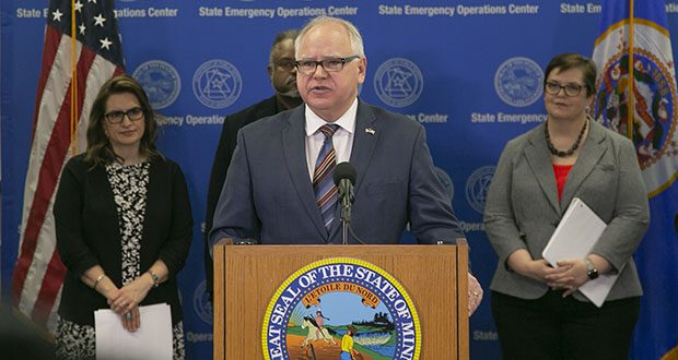 Gov. Tim Walz presents his bonding proposal, which includes $2 billion in general obligation bonds, on Jan. 16 in St. Paul. Looking on are, left to right, Lt. Gov. Peggy Flanagan, Public Safety Commissioner John Harrington and Transportation Commissioner Margaret Anderson Kelliher. (Staff photo: Kevin Featherly)