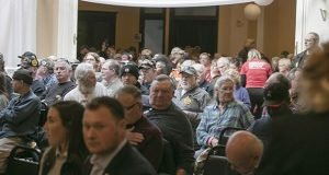 Audience members at the Hibbing Crown Ballroom are shown moments before the start an unruly hearing on six gun bills on Jan. 21. (Staff photo: Kevin Featherly)