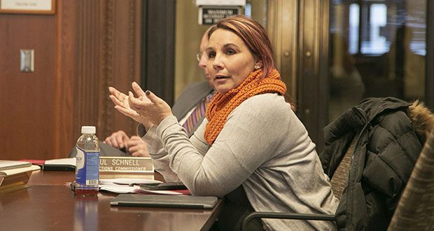Tonja Honsey, public representative on the Sentencing Guidelines Commission, addresses fellow member and Court of Appeals Judge Michelle Larkin during a hearing Thursday. The commission voted 8-3 to adopt a modified version of its five-year maximum probation policy for most offenders. But unlike the original proposal, what was adopted is not a hard cap. (Staff photo: Kevin Featherly)