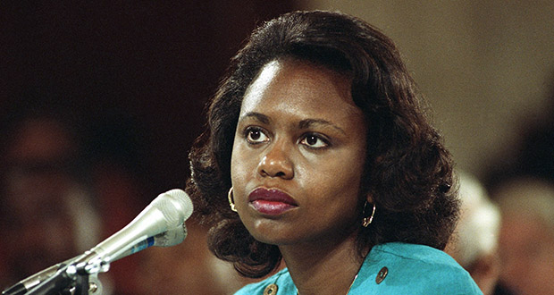 """Law professor Anita Hill testifies before the Senate Judiciary Committee on the nomination of Clarence Thomas to the Supreme Court on Oct. 11, 1991 on Capitol Hill in Washington. Hill testified that she was """"embarrassed and humiliated"""" by unwanted, sexually explicit comments made by Thomas when she worked for him a decade earlier. (AP file photo)"""