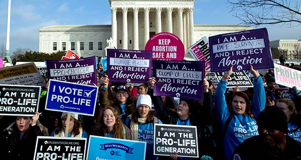 Anti-abortion activists protest outside of the U.S. Supreme Court on Jan. 18, 2019, during the March for Life in Washington. Anti-abortion activists will gather in Washington on Friday for this year's march. (AP file photo)
