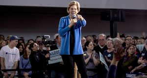 Democratic presidential candidate Elizabeth Warren speaks at a campaign stop Sunday at the Mississippi Valley Fairgrounds in Davenport, Iowa. (AP photo)