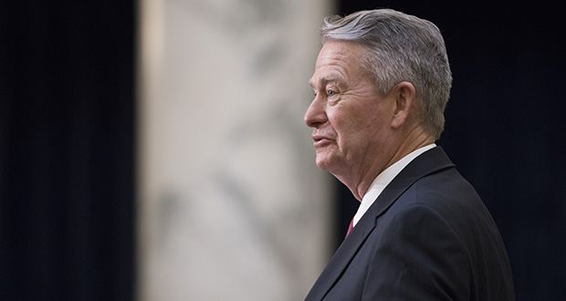 Idaho Gov. Brad Little delivers his State of the State address inside the house chambers at the state Capitol building, Monday, Jan. 6, 2020 in Boise, Idaho. (AP Photo/Otto Kitsinger)