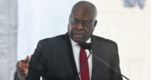 Supreme Court Justice Clarence Thomas delivers a keynote speech during a dedication of Georgia new Nathan Deal Judicial Center Tuesday, Feb. 11, 2020, in Atlanta. (AP Photo/John Amis)