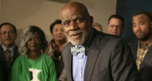 """Former Supemre Court Associate Justice Alan Page appeared at a Feb. 25 press conference to stump for a state constitutional amendment guaranteeing kids a quality education. Page says ex-justices can advocate for political causes if they can do so """"with integrity."""" (Staff photo: Kevin Featherly)"""