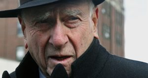 In this March 2011 photo, federal Judge Jack Weinstein speaks with reporters after visiting the Louis Armstrong housing projects in Bedford-Stuyvesant section of Brooklyn, New York. (AP file photo)