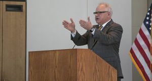 Gov. Tim Walz speaks during a Feb. 27 briefing on the revised economic forecast. Walz said he is open to spending some surplus money to improve conditions in state prisons. The Corrections Department was the recent subject of a stinging report from the Office of the Legislative Auditor. (Staff photo: Kevin Featherly)