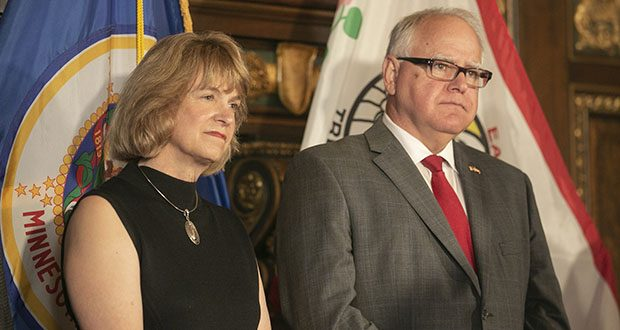 Gov. Tim Walz, right, introduced DHS Commissioner Jodi Harpstead last August. (File photo: Kevin Featherly)