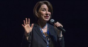 Amy Klobuchar speaks at a campaign rally in Salt Lake City on Monday. She dropped out of the presidential race shortly after the event. (AP photo: Salt Lake Tribune)
