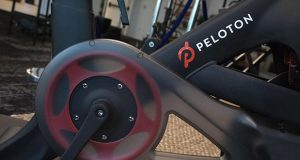 This photo shows the Peloton logo on the company's stationary bicycle. (AP file photo)